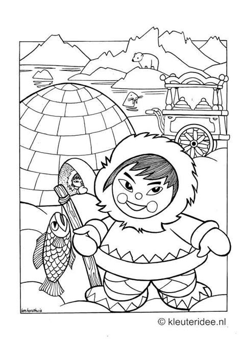 Iglo Huis Kleurplaat by Kleurplaat Noordpool Eskimo Iglo Kleuteridee Nl Free