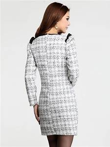 populaire robe bodycon blanche en tweed modele moulant With robe tweed