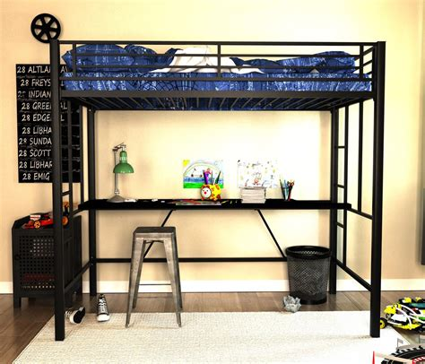 twin metal loft bed with desk dorel home furnishings twin black metal loft bed with desk
