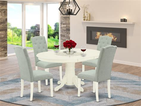 Wood & hard surface furniture. AVCE5-LWH-15 5Pc Dining Set Includes an Oval Dinette Table ...