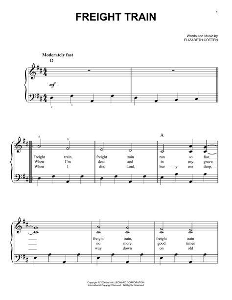 freight train sheet music by elizabeth cotten easy piano