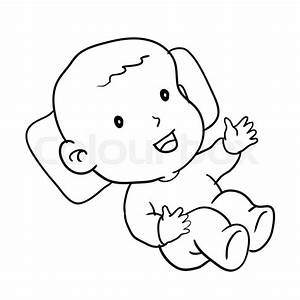 Hand Drawing Of Loughing Baby Isolated On White Background