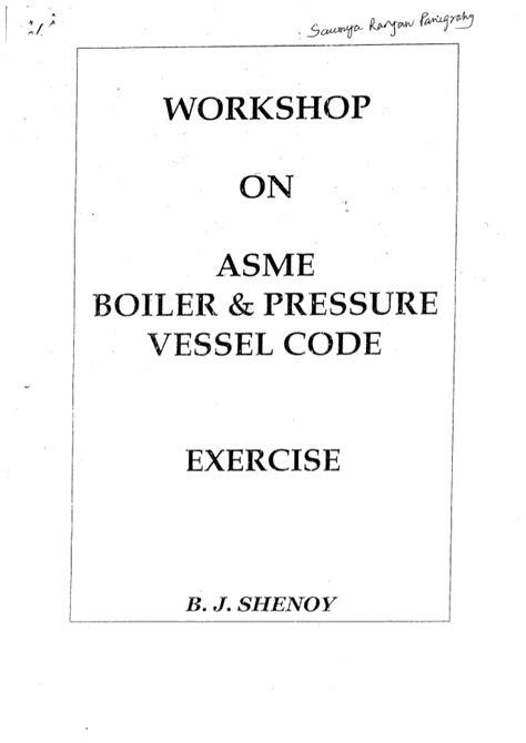 WORK SHOP ON ASME EXERCISE