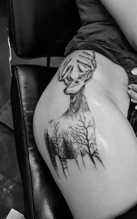 Thigh tattoo. Doe/deer/stag tattoo/dot work/fur trees