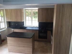 cuisine ardoise et bois de pour votre cuisine diaporama With superior meuble cuisine blanc laque 2 cuisine verre ebane