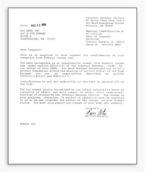 tax exempt letter sample tax