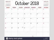 2018 Oktober Planer eine monatliche Planer Kalender für