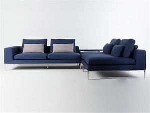 Canapé D Angle Modulable : canap d 39 angle modulable tissu bleu 4 places avec pieds ~ Melissatoandfro.com Idées de Décoration