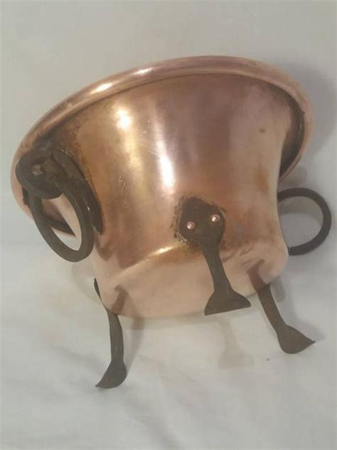 small copper pot antique tripod cauldron vintage french cookware artisan handmade iron dining