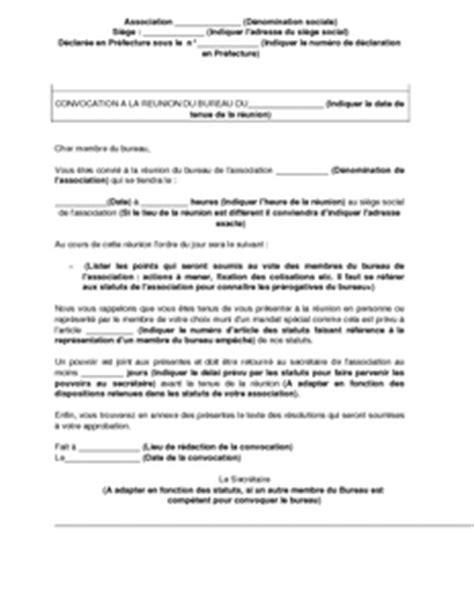 exemple gratuit de lettre convocation membres bureau une