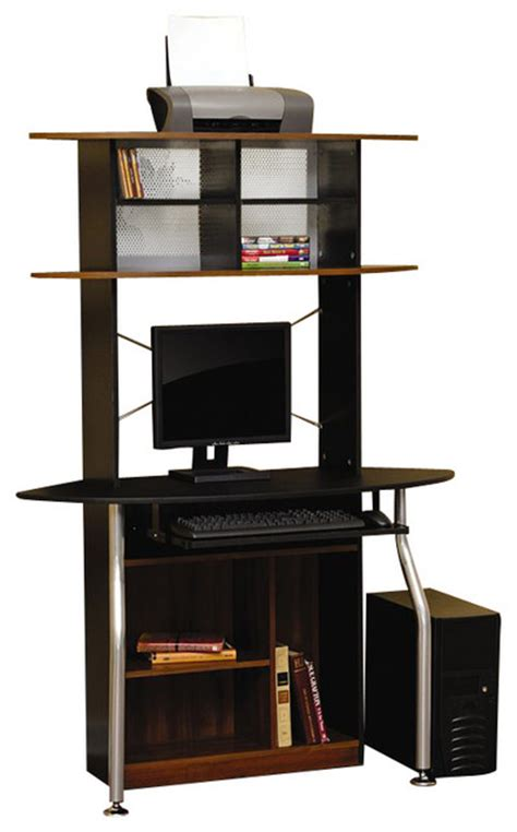 studio rta corner computer desk in black and maple