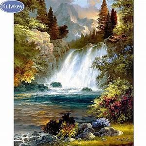 DIY,Full,Diamond Embroidery,nature waterfall,photo custom ...