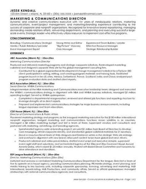 marketing communications resume sle