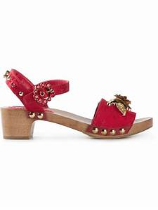 Dolce & gabbana Embellished Sandals in Red | Lyst