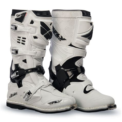 moto racing boots sector white boot fly racing motocross mtb bmx