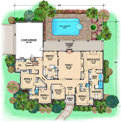 European House Plan   4 Bedrooms, 3 Bath, 3681 Sq Ft Plan