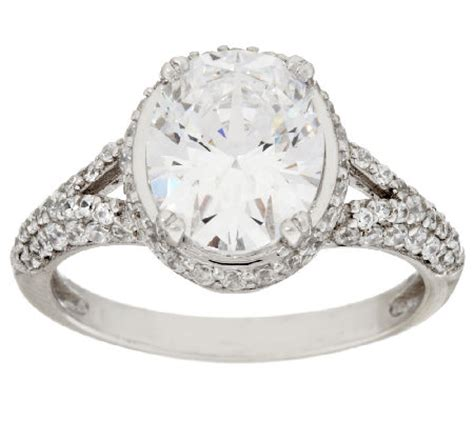 Diamonique Oval Halo & Pave' Ring, Sterling — Qvccom