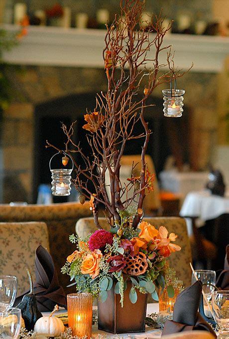 Modern Fall Wedding Branch Centerpiece Wedding Flowers