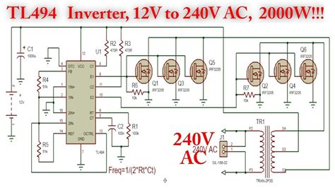 Tl494 Inverter 12v 220v by Tl494 Inverter Circuit With Irf3205 Power Mosfet 2000w