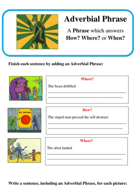 grammar adverbial phrases spag by lastingliteracy teaching resources