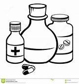 Pill Medizinflaschen Bottiglie Flessen Geneeskunde sketch template