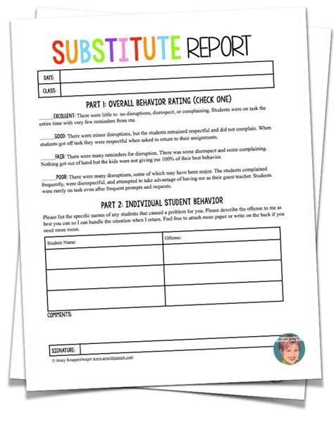 free substitute teacher forms 1000 ideas about substitute teacher forms on pinterest