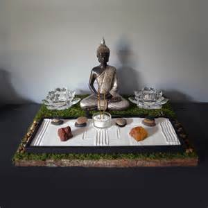 meditating buddha statue buddhist altar table shrine