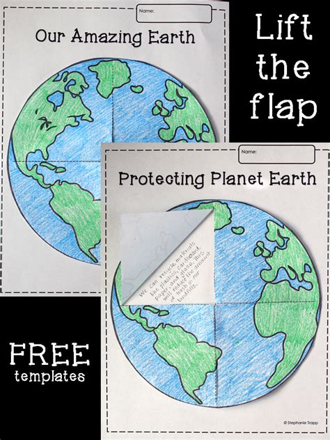 earth lift  flap printable template freebie primary