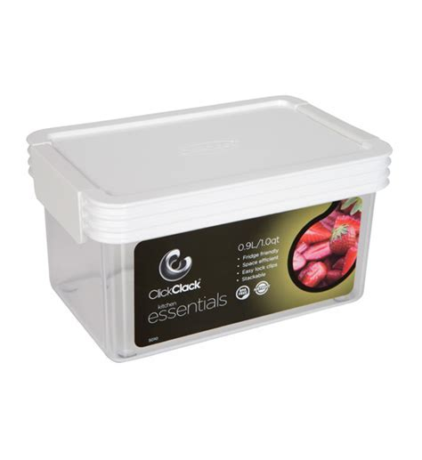 Rectangle Click Clack Canister   1 Quart in Plastic Food