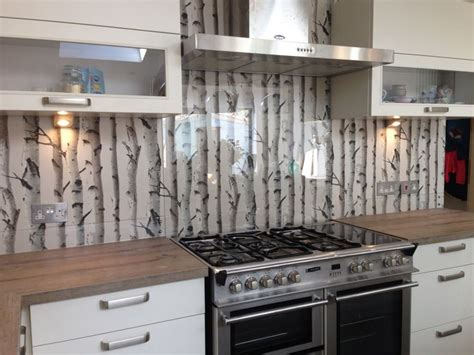 wallpaper kitchen ideas clear glass splashback with great effect wallpaper