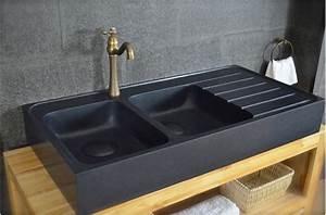 120x60 Vier Granit Noir De Cuisine En Pierre 2 Cuves