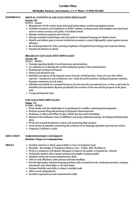 localization specialist resume samples velvet jobs