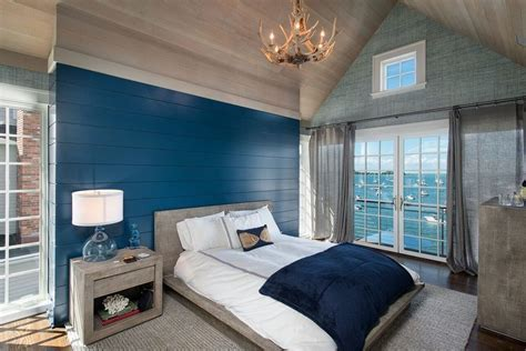new york Blue Wall bedroom beach style with navy blue
