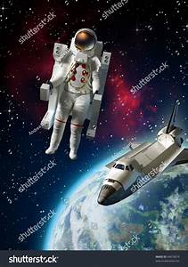 Royalty-free Astronaut and space shuttle exploring ...