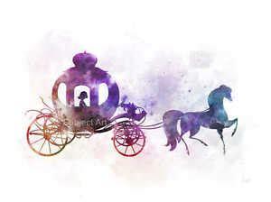 cenerentola carrozza zucca print cenerentola cavallo e carrozza illustrazione