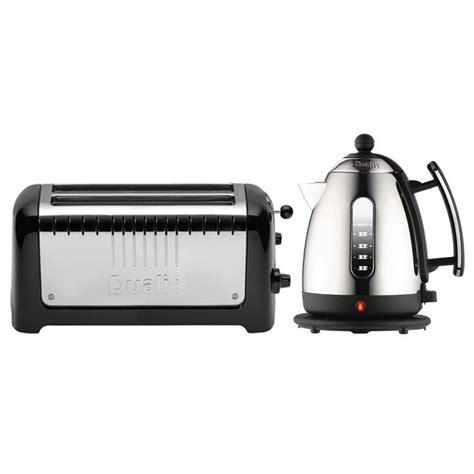 dualit 4 slice toaster dualit kettle and 4 slice slot toaster set black
