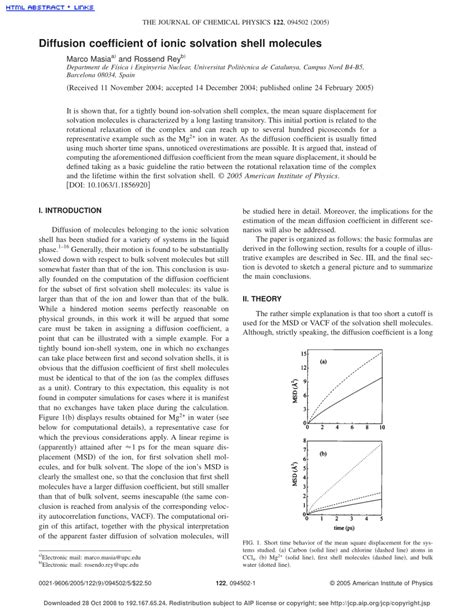 Journal Of Chemical Physics Template by Pdf Diffusion Coefficient Of Ionic Solvation Shell Molecules
