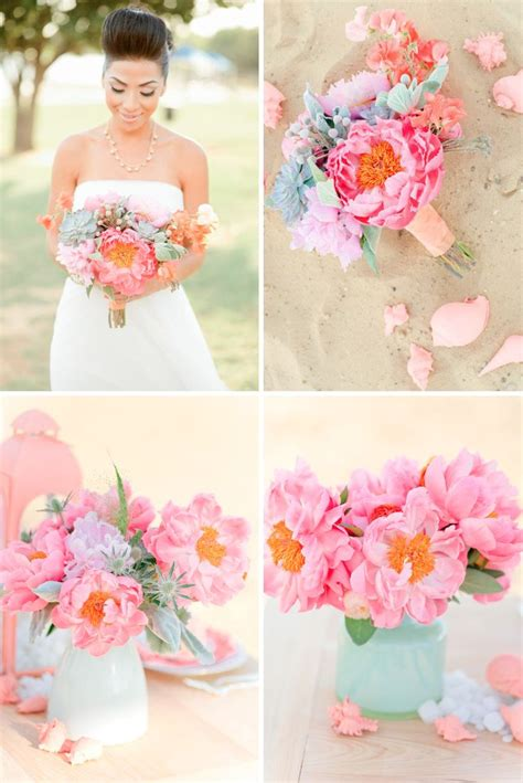 Wedding Flowers Pink Peonies And Frosty Mint Green