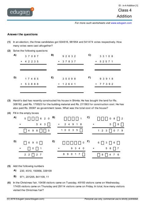 year  math worksheets  problems addition edugain