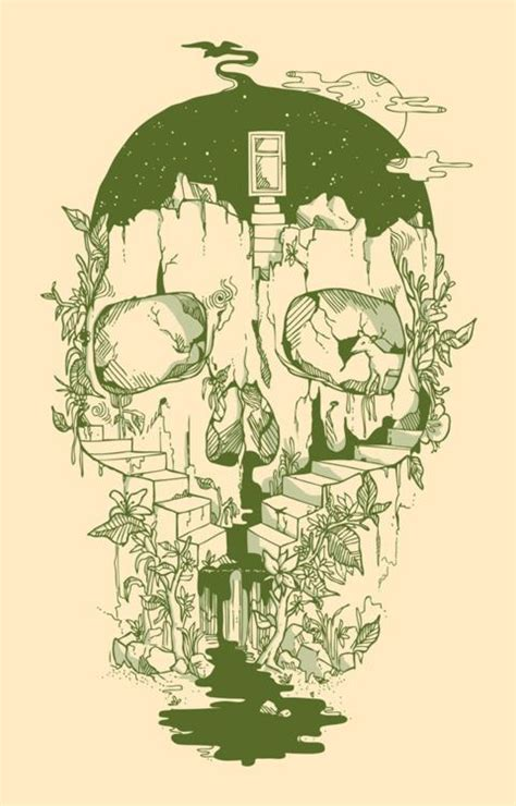 Skull Cliff Stairs Plants Nature Illustration Design