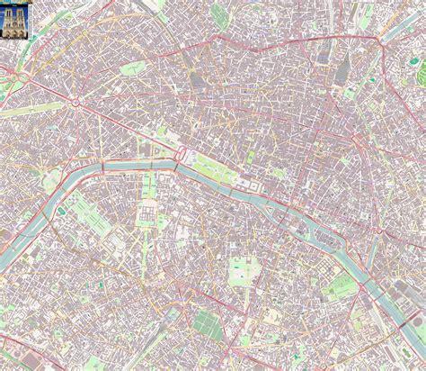 paris offline street map including eiffel tower sacre