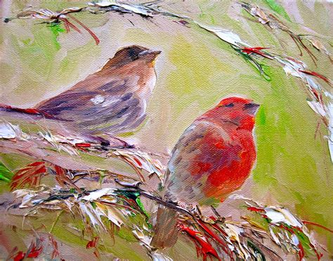 winter finches painting by sarah jane conklin