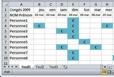 modèle planning congés excel gratuit faire rapidement un planning cong 233 sur excel