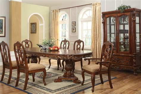 formal dining room tables carved oval brown stained mahogany wood dining table with