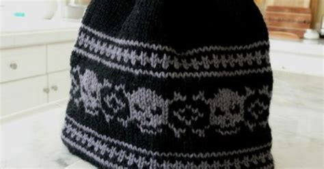 Free Knitting Pattern For Skull Hat Beanie In Intarsia.