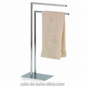 Porte Verre à Pied : porte serviette sur pied style mtal chrom ~ Dailycaller-alerts.com Idées de Décoration