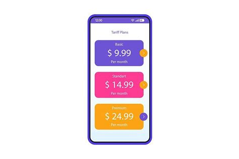 tariff plans packages app interface  images app