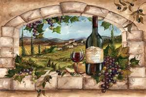 Tuscany Grape Decor For Kitchen by Tuscan Vineyard Tile Murals
