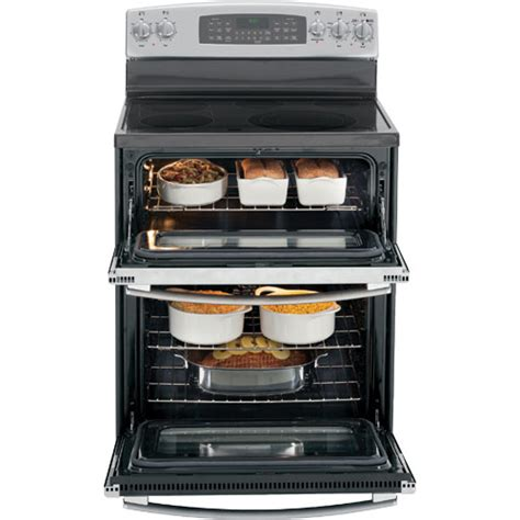 electric smooth range ge oven double convection general standing ranges griddle cooking ovens bridge zone steel finish