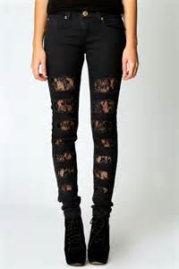 Black Ripped Skinny Jeans with Lace